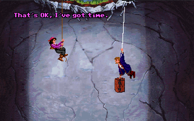 Elaine finds Guybrush, who starts the game by taking us along for a flashback.